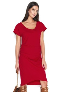 Sukienka czerwona z marszczeniami NU155