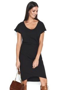 Sukienka czarna z marszczeniami NU155