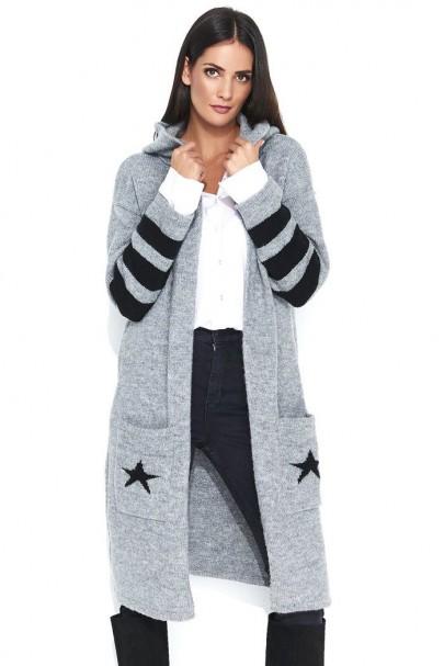 Sweter szary z kapturem NU_S41