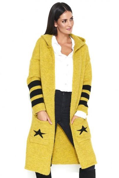 Sweter żółty z kapturem NU_S41