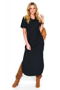 Sukienka czarna z rozcięciem M464