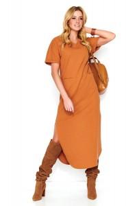 Sukienka camelowa z rozcięciem M464
