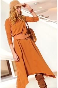 Sukienka camelowa asymetryczna M466