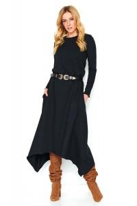 Asymetryczna midi sukienka czarna M466