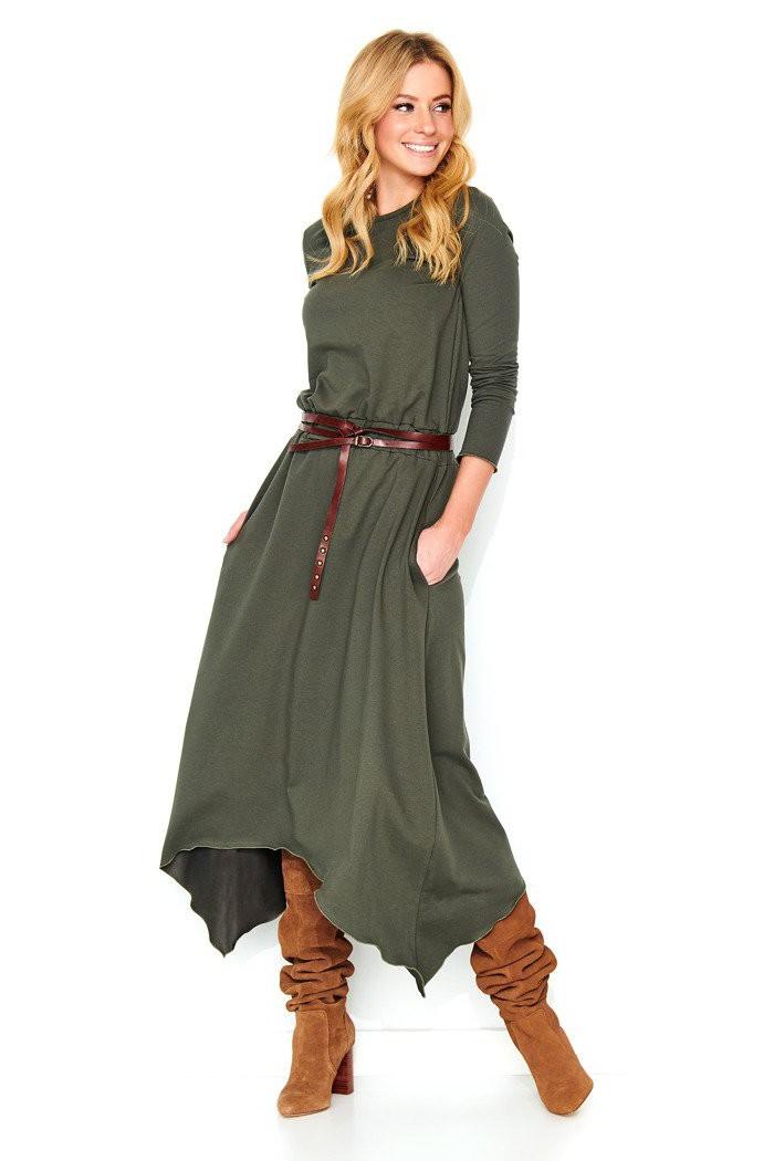 Asymetryczna midi sukienka khaki M466