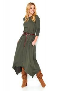 Sukienka khaki asymetryczna M466