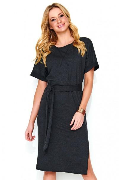 Sukienka czarna z paskiem M469