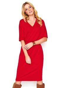 Sukienka czerwona z krótkim rękawem M470