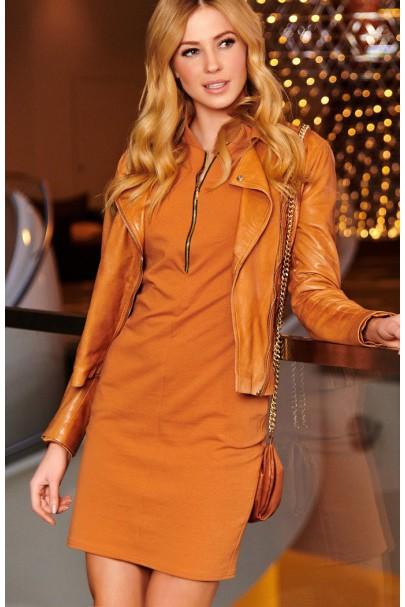 Sukienka camelowa z zamkiem...