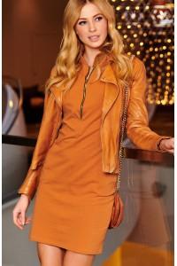 Sukienka camelowa z zamkiem M472