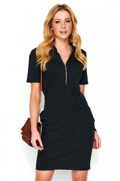 Sukienka czarna z zamkiem M472