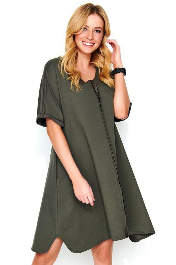 Sukienka khaki trapezowa M474