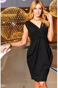 Sukienka czarna z kopertowym dekoltem M473