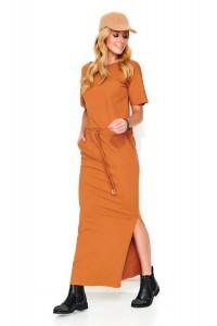 Maxi sukienka camelowa M468