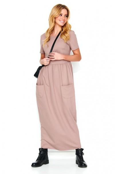 Maxi sukienka cappucino M478