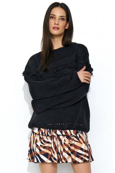 Sweter czarny z frędzlami...