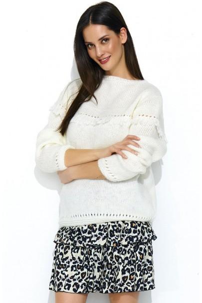 Sweter ecru z frędzlami NU_S46