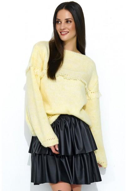 Sweter żółty z frędzlami...
