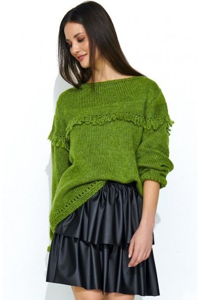 Sweter zielony z frędzlami...