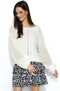 Sweter ecru z warkoczami NU_S47