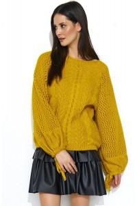 Sweter musztardowy z warkoczami NU_S47