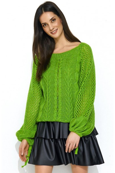 Sweter zielony z warkoczami...