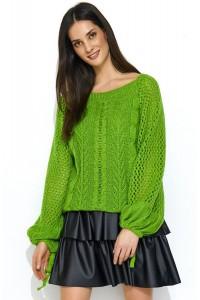 Sweter zielony z warkoczami NU_S47