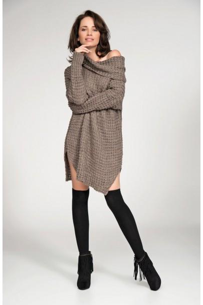 Sweter cappucino z golfem...