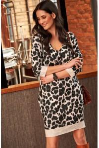 Sukienka w beżową panterkę z kieszeniami NU159