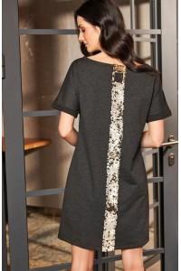 Sukienka grafitowa trapezowa NU168