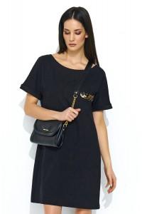 Sukienka czarna trapezowa NU168