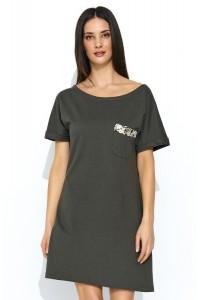 Sukienka khaki trapezowa NU168
