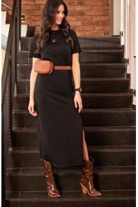 Sukienka z rozcięciem czarna NU172