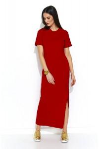 Sukienka z rozcięciem czerwona NU172