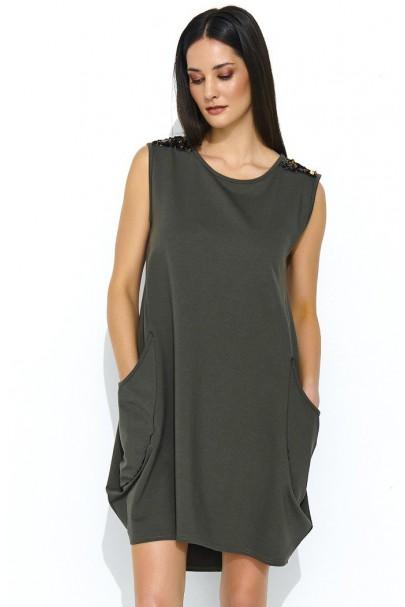 Sukienka bombka khaki NU174