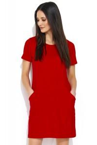 Sukienka czerwona z kieszeniami NU175