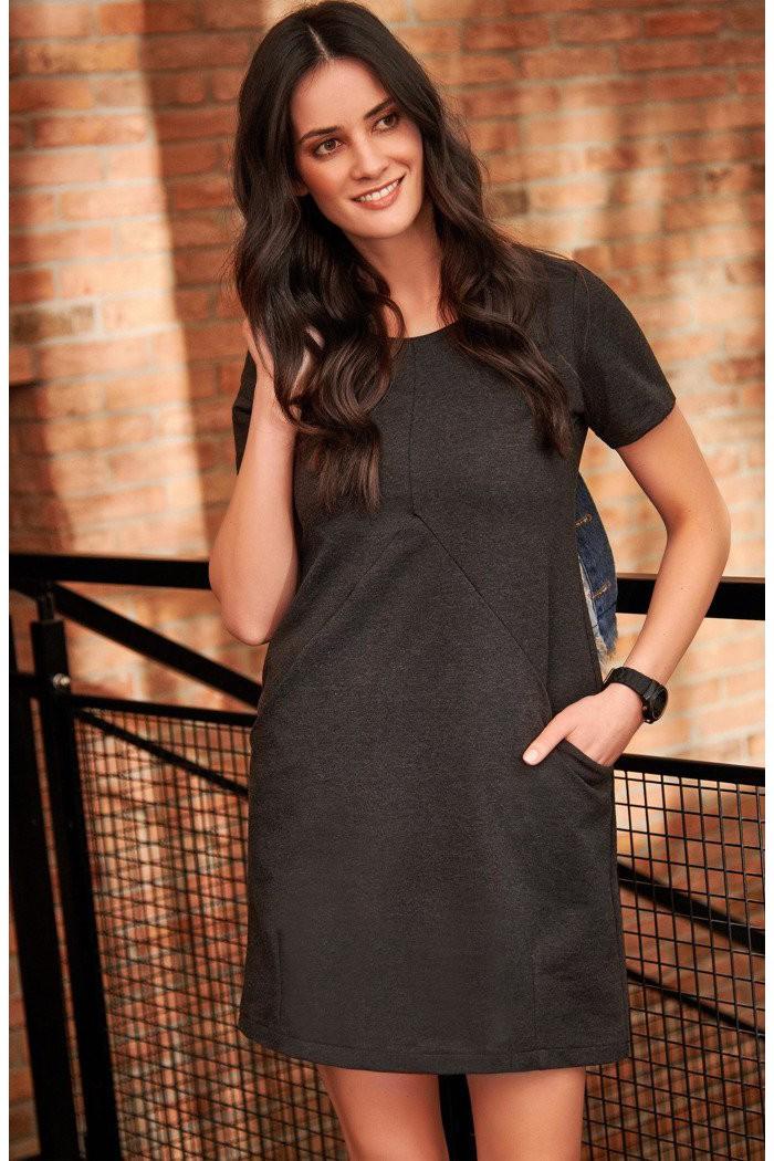 Sukienka grafitowa z kieszeniami NU175