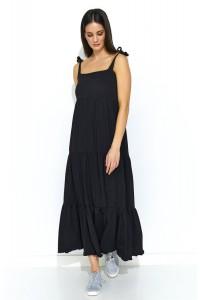 Sukienka na ramiączkach czarna NU170
