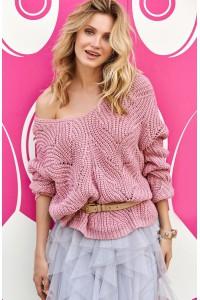 Sweter ażurkowy brudny róż S79
