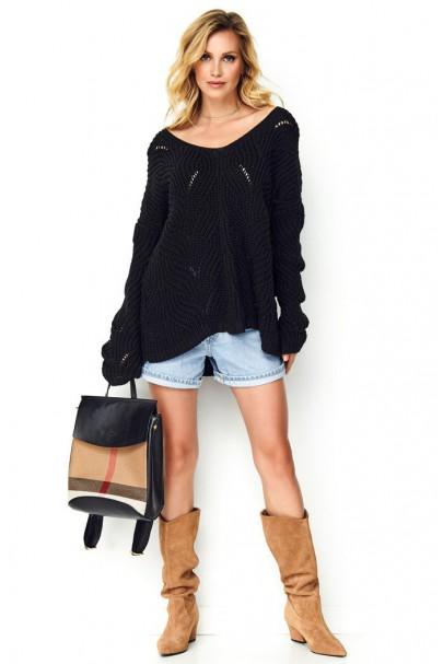 Sweter ażurkowy czarny S79