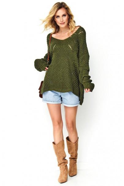 Sweter ażurkowy khaki S79