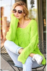 Sweter ażurkowy limonkowy S79
