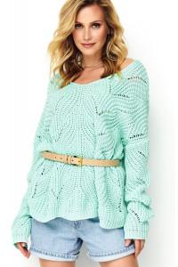 Sweter ażurkowy miętowy S79