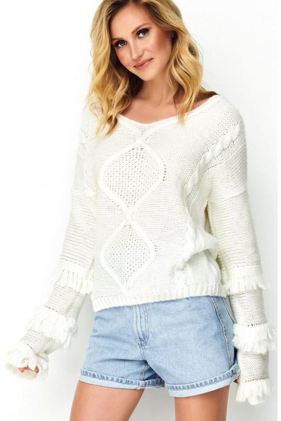 Sweter ecru z frędzlami S80