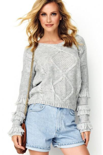 Sweter szary z frędzlami S80