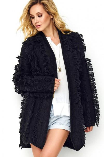 Sweter czarny z chwostami S81