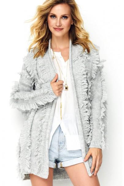 Sweter szary z chwostami S81