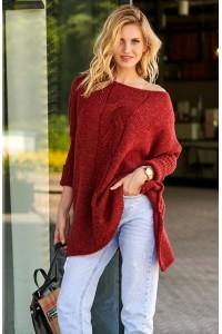 Sweter bordowy z warkoczem S82