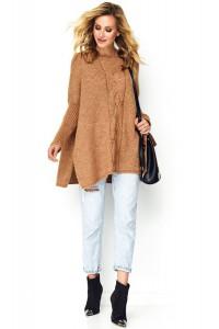 Sweter camelowy z warkoczem S82