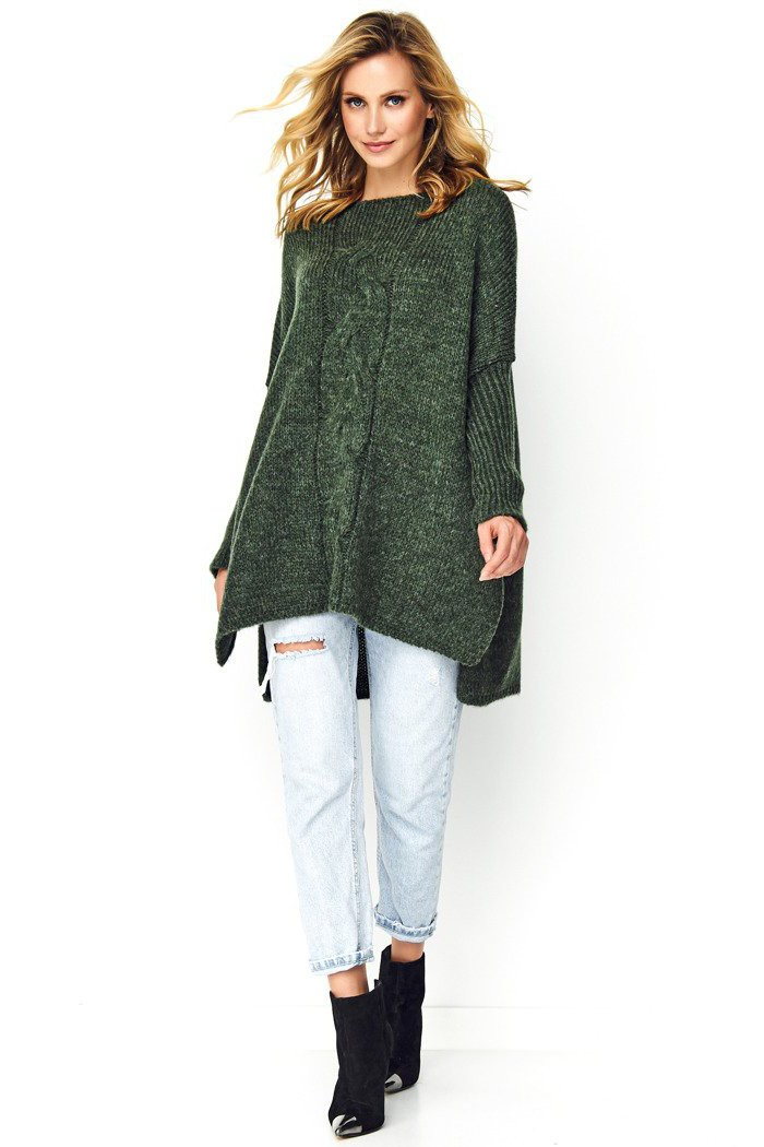 Sweter khaki z warkoczem S82